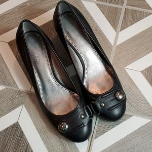 COACH Black Leather Pump Block Heel Dress Shoe 7.5